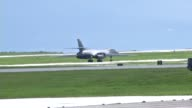 US Air Force B1B Lancer from the 37th Expeditionary Bomb Squadron Ellsworth Air Force Base South Dakota taking off from the flight line at Andersen...