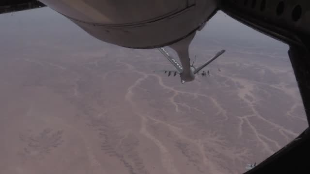 US Air Force members from the 340th EARS preform aerial refueling to US Navy F18s over Iraq on October 1 2017 The F18 can carry a wide variety of...