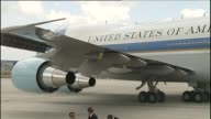 Air Force One during President Obama's joint press conference from Brussels during G7