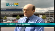 Air travel security scares in wake of plane bomb plot ENGLAND Sussex Gatwick Airport EXT Chris Garton LIVE interview SOT Outlining the events that...