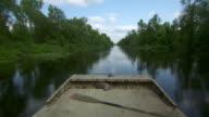 MS POV Airboat speeding on Atchafalaya Basin swamp / Atchafalaya Basin, Louisiana, United States