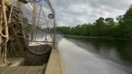 MS POV Airboat speeding through Atchafalaya Basin swamp / Atchafalaya Basin, Louisiana, United States