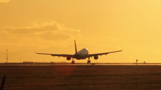 A310 aircraft landing on runway with yellow sunset sky