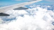 Aircraft wing and beautiful cloud