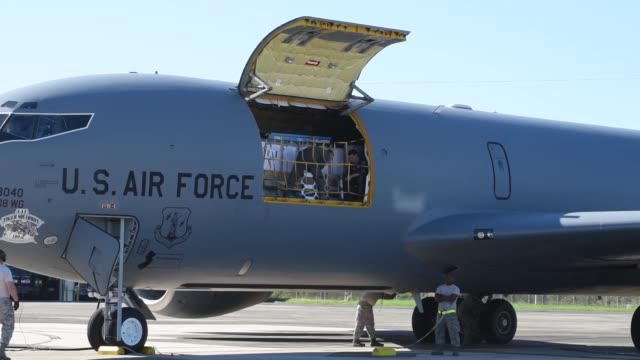 Aircrew assigned to the 141st Air Refueling Squadron New Jersey Air National Guard on a KC135 from the 108th Wing Joint Base McGuireDixLakehurst New...