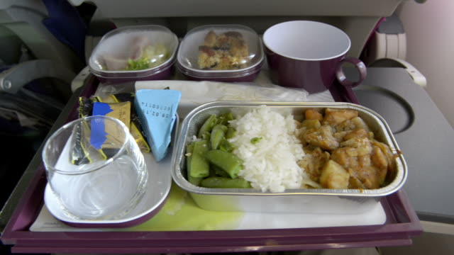 Airline meal, Fried chicken with rice