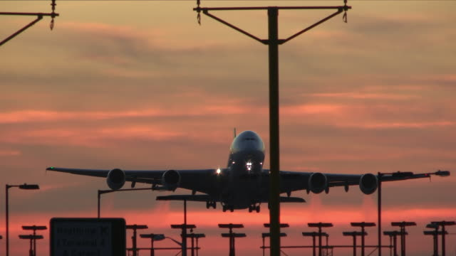 Airliner takes off at sunset