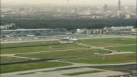 WS HA Airplane landing on runway, Frankfurt am Main, Hesse, Germany