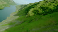 AERIAL airplane point of view over hills + river / Loch Awe, Argyll, Western Highlands, Scotland