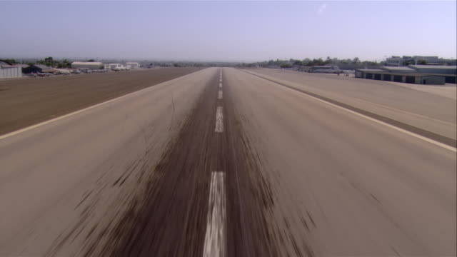 POV airplane taking off, Santa Monica Airport, California, USA