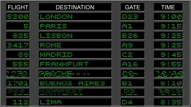 Airport Departure Board - Green