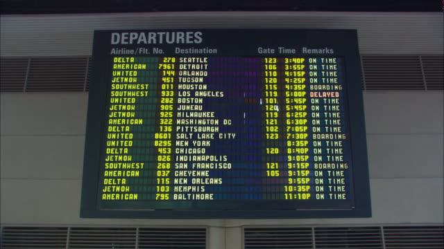 MS ZI LA Airport flight information board with 'delayed' or 'cancelled' signs lighting up next to all flights, Los Angeles, California, USA