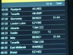 Airport information board showing cancelled flights following closure of UK airspace due to volcanic eruption in Iceland