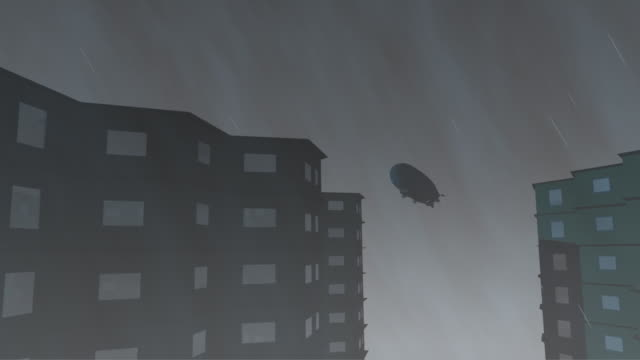 Airship over skyscrapers in bad wether. 3d render
