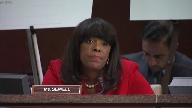 Alabama Congressman Terri Sewell discusses with representatives of Facebook Twitter and Google misinformation and influence campaigns by Russian...