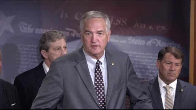 Alabama Senator Luther Strange participates in a news conference with other Senate Republicans on urging leadership to cancel the August 2017...