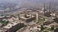 AERIAL WS Alabaster Mosque and fortress in cityscape / Cairo, Egypt
