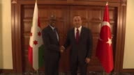 Alain Aime Nyamitwe Minister of External Relations and International Cooperation of Burundi meets with Turkish Foreign Minister Mevlut Cavusoglu in...