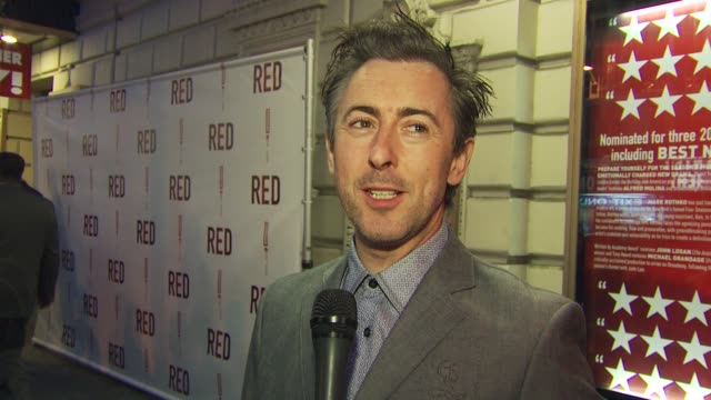 Alan Cummings discusses how he just worked with Fred Molina and April Fools Day at the 'RED' Broadway Opening Night Arrivals at New York NY
