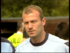 Alan Shearer Branded 'Immature' LIB Berkshire Bisham Abbey EXT Alan Shearer standing around at training session Shearer signing autograph