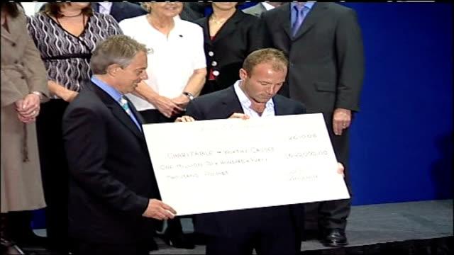 Alan Shearer hands over 164 million to charity / Tony Blair pays tribute to Shearer ENGLAND Newcastle INT Tony Blair MP along with Alan Shearer /...