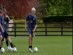 Alan Smith scores during shooting practice Leeds United FC Thorp Arch Wetherby 24 Apr 04
