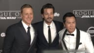 Alan Tudyk Diego Luna and Donnie Yen at 'Rogue One A Star Wars Story' World Premiere at the Pantages Theatre on December 10 2016 in Hollywood...