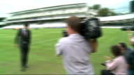 London St Johns Wood Lords PHOTOGRAPHY*** GVs Alastair Cook photocall on pitch and press taking pictures / groundsman cutting grass / GV empty ground...