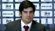 Heathrow PHOTOGRAPHY** Alastair Cook taking seat Alastair Cook press conference SOT Cook leaving
