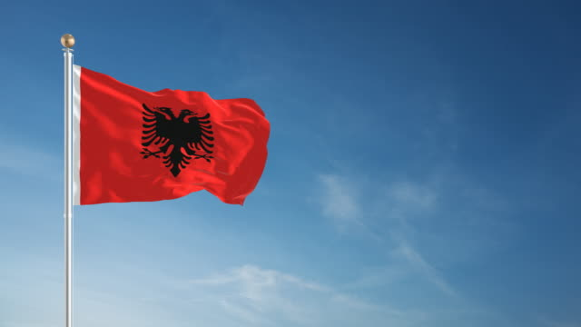 4K Albania Flag - Loopable