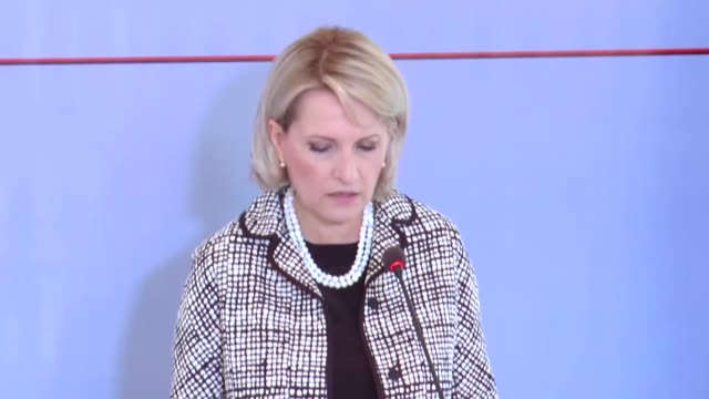 Albanian Defense Minister Mimi Kodheli and Macedonian Minister of Defense Radmila Sekerinska speak duribg a joint press conference after their...