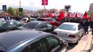 Albanian Democratic Party main oppositon of Albania held a nationwide unauthorized demonstration in Tirana Albania on April 24 2017 Lulzim Basha...