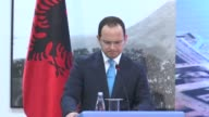 Albanian Foreign Minister Ditmir Bushati gives a speech during a ceremony on the occasion of the International Holocaust Memorial Day at the Foreign...