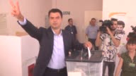 Albanian opposition Democratic Party leader Lulzim Basha casts his ballot for parliamentary election at a polling station in Tirana Albania on June...