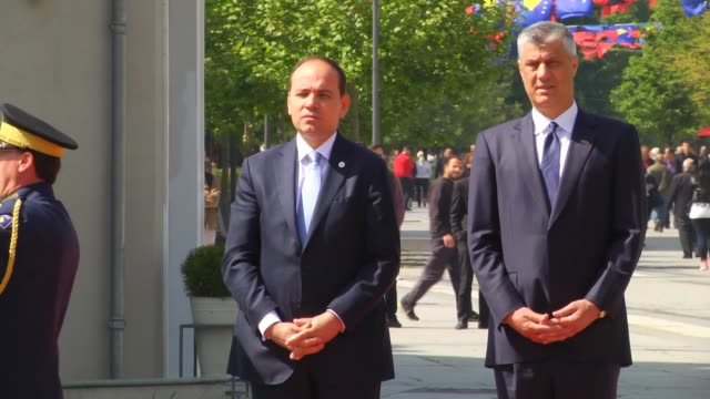 Albanian President Bujar Nishani is welcomed by Kosovo President Hashim Thaci with an official welcoming ceremony and two leaders hold a meeting in...