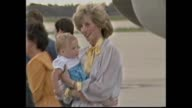 Prince Charles and Princess Diana meet and greet with crowds – last time leaving Albury airport – sign 'Albury bids farewell' / Charles and Diana...