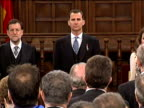 Alcalá de Henares 23 Apr Spain's Prince of Asturias presented the Cervantes Award on Monday to Cristobal Ugarte who accepted the prize on behalf of...