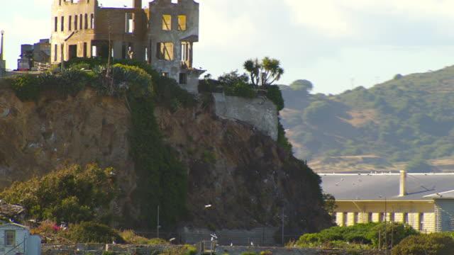 MS TD AERIAL Alcatraz Island and prison complex / San Francisco, California, United States