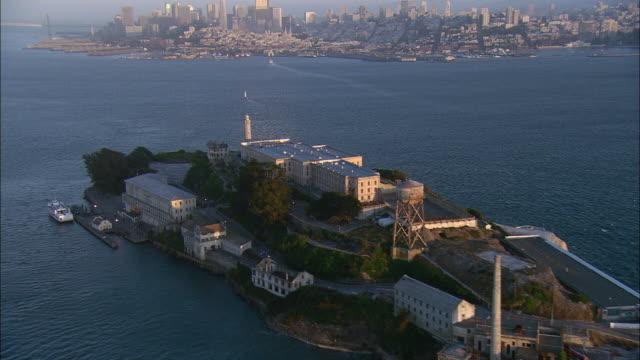 AERIAL Alcatraz Island and San Francisco skyline, California, USA