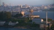 AERIAL ZO Alcatraz Island with San Francisco skyline in background, California, USA