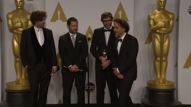 SPEECH Alejandro González Iñárritu Nicolas Giacobone Alexander Dinelaris Jr and Armando Bo at the 87th Annual Academy Awards Press Room Part 2 at...