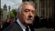 coffin carried into cathedral / Jimmy White interview NORTHERN IRELAND Belfast EXT John Virgo arriving at funeral John Virgo interview SOT Its very...
