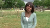 Mother gives evidence Reporter to camera Park and playground
