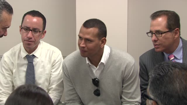 Alex Rodriguez and Miguel A Fuentes Jr at the BronxLebanon Hospital Center Dedication Ceremony to Alex Rodriguez at New York NY