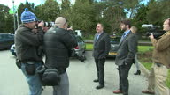 Alex Salmond casts his vote in Gordon Shows exterior shots Alex Salmond talking with reporters posing with thumbs up for press on May 07 2015 in...