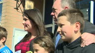 Alex Salmond casts his vote in Gordon Shows exterior shots Alex Salmond family posing for photographs outside polling station giving the thumbs up on...
