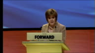 Alex Salmond Scottish National Party annual conference speech SCOTLAND Perth INT GVs Nicola Sturgeon on stage Nicola Sturgeon speech SOT DELIVERY**...