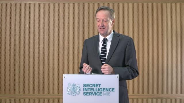 Alex Younger speech ENGLAND London MI6 Headquarters INT Alex Younger along to podium and speech SOT