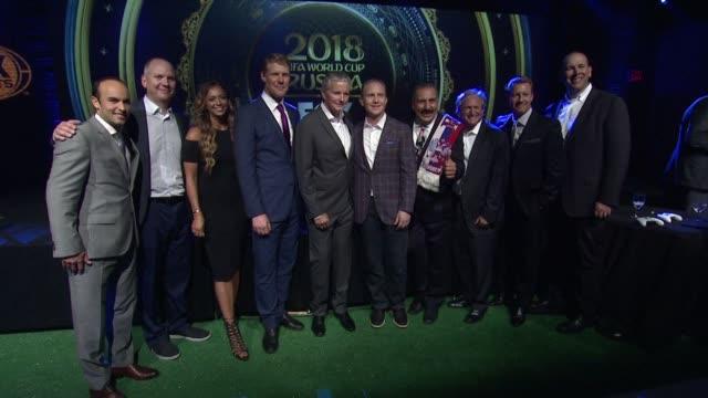 Alexi Lalas Landon Donovan Eric Shanks Coach Bruce Arena Fernando Fiore at Fox Sports' World Cup Kickoff at Art Beam on September 26 2017 in New York...