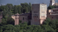 MS, Alhambra castle between trees, Granada, Andalusia, Spain
